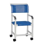"MJM Intl - Shower Chair w/Sling Seat, 18"" Internal Width, 3"" Twin Casters, 300 lbs Weight Cap. - 118-3-SL"