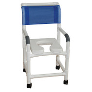 """MJM Intl - Shower Chair, 18"""", Int. Width, 3"""" Total Lock Casters, Deluxe Elongated Open Front Soft Seat, 300 lbs Weight Cap. - 118-3TL-SSDE"""