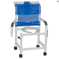 """MJM Intl - Shower Chair, 22"""" Int. Width, Open Front Seat, 3"""" Twin Casters, Dual Swing Away Armrests, 300 lbs Weight Cap. - 122-3TW-DDA"""