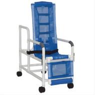 MJM Intl - Tilt Shower Chair w/Sling Seat, Buckle Safety Belt, Dual Swing Away Armrests, Leg Rest, Head Support, 250 lbs Weight Cap. - 193-TIS-LR-SL