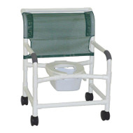 """MJM Intl - Wide Shower Chair, 26"""" Internal Width, Open Front Seat, 3"""" Total Lock Casters, 10 Qt. Pail, No Bar In Back, 425 lbs Weight Cap. - 126-3TL-NB"""