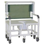 """MJM Intl - Bariatric Shower Chair, 30"""" Int. Width, (8 Heavy Duty Casters 5"""" x 1.25""""), 10 Qt. Pail, 900 lbs Weight Cap. - 130-5HD-DB"""