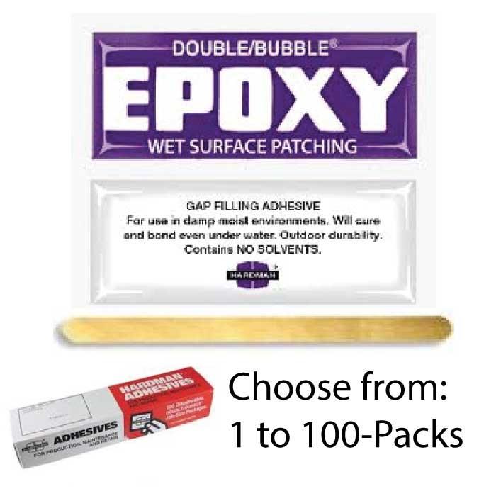 "Double bubble ""purple label"" wet-surface & water setting epoxy."