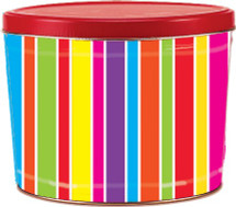 2 Gallon Coloful Stripes Tin