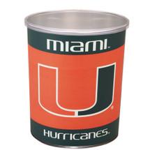 University of Miami 1 Gallon Popcorn Tin