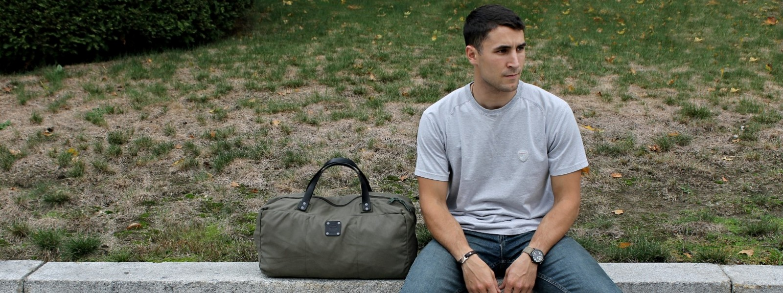 American Bench Craft Rescued Army Surplus Canvas Duffel Bag with Riveted Leather Straps Made in USA Reading Ma Boston