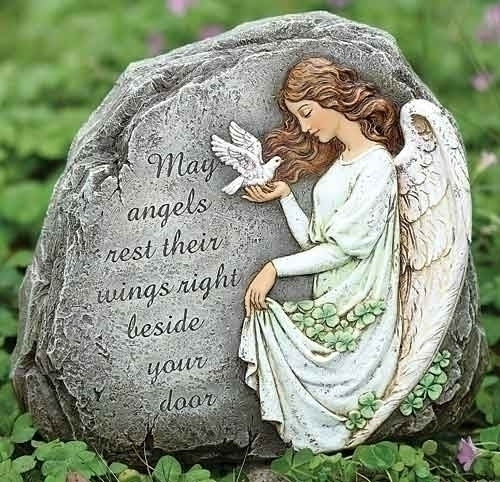 """Angel and Shamrock Garden Stone. """"May angels rest their wings right beside your door."""" Dimensions: 8.25""""H 9.25""""W 3""""D. Resin/Stone Mix"""