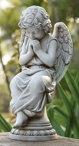 "Garden Angel Collection. Praying Angel Statue. Dimensions: 14.5""H 6.5""W x  4.13""D. Resin/Stone Mix"