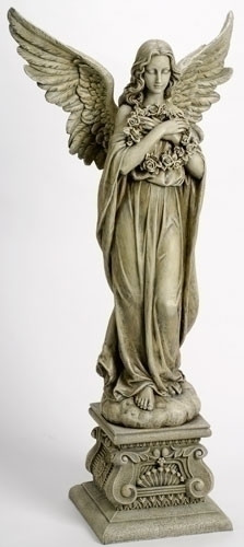 "48"" Angel of resin stone mix. Dimensions: 48""H 22.5""W 12.5""D"