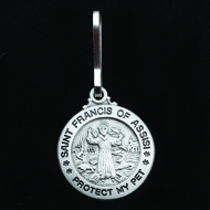 "St. Francis of Assisi Pewter Pet Tag with collar clip with ""Protect My Pet"" is engraved on the Medal. 3/4"" (Small) or 1"" (Large) Diameter. Engraving available on back for a fee ~ Please allow one week for delivery"