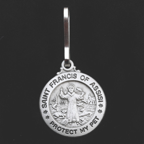 """St. Francis of Assisi Pewter Pet Tag with collar clip with """"Protect My Pet"""" is engraved on the Medal. 3/4"""" (Small) or 1"""" (Large) Diameter. Engraving available on back for a fee ~ Please allow one week for delivery"""