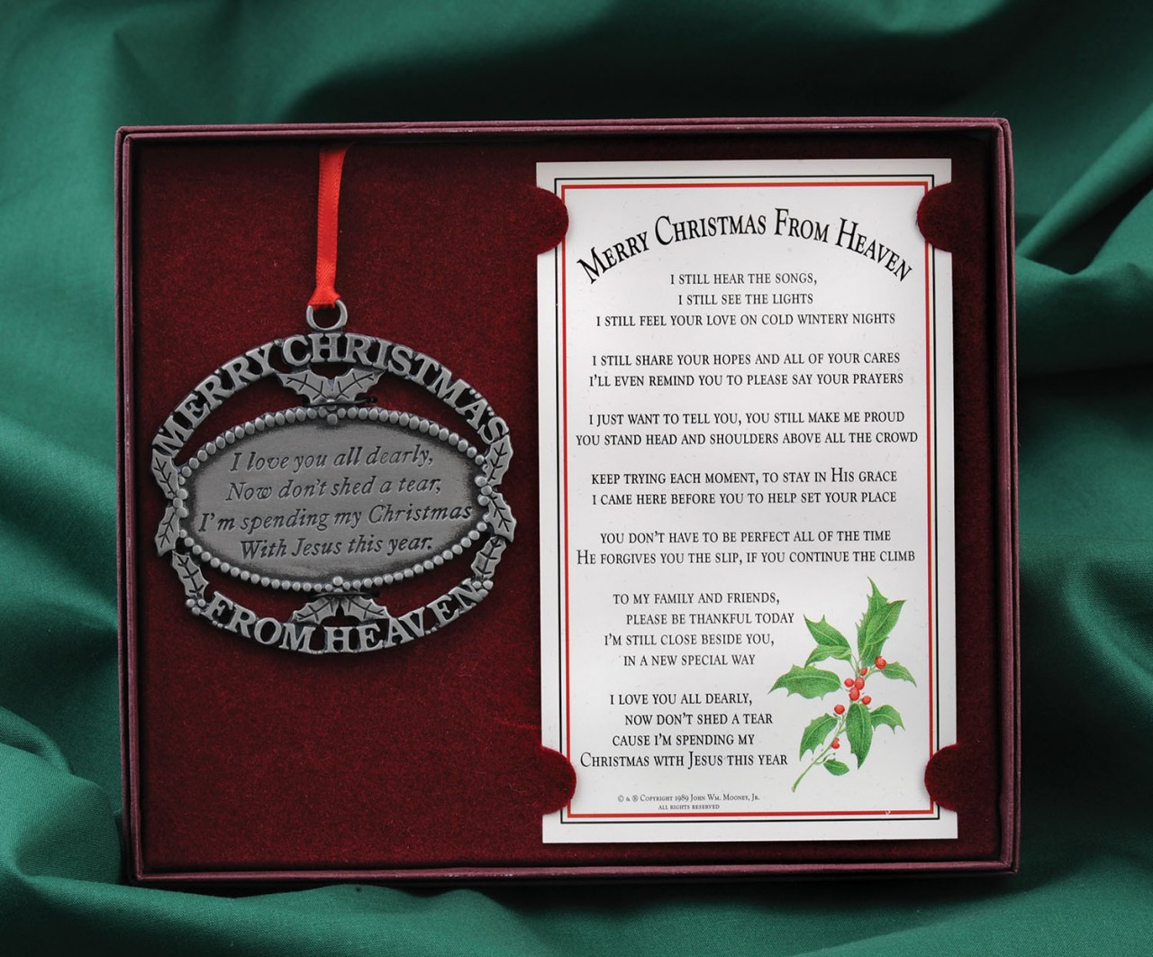 Christmas From Heaven.Merry Christmas From Heaven Ornament With Bookmark