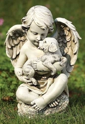 "Cherub with Puppy. 12""H  x 8.5""W  x 6.38""D. Materials: Resin/Stone Mix"