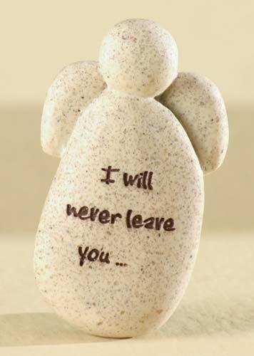 """Faith Angel  is inscribed """"I will never leave you"""" on front of angel stone. 2""""H x 0.5""""W x 1.25""""L"""