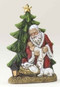 "Kneeling Santa Christmas Tree Figure is made of resin. Dimensions are 6.25""H x 4""W x 1.75""D"