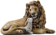 """Christmas Collection ~ Lion and Lamb figure. 6.5""""H x13""""W  x 8""""D. Resin/Stone Mix"""