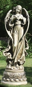 46.75inch Pedestal Angel With Dove Garden Statue