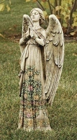 "Rose Praying Angel Statue. 24""H 10""W x 6.25""D. Resin/Stone Mix"