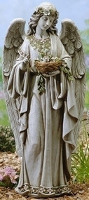 "If you are looking for a beautiful addition to your garden, this angel statue is a great option. This statue features an angel holding a nest. This is a beautiful and elegant garden statue.  Details: Dimensions: 24""H x 10.75""W x 8""D Resin and stone mix"