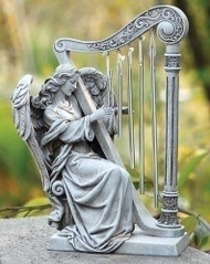 Garden  Angel Statue With Harp 10in