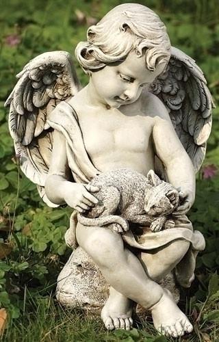"12"" Garden Statue, Cherub Statue, Cherub Kitten Statue . Dimensions: 12""H 8.25""W x 7.5""D. Resin/Stone Mix"