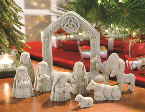 "Celtic Nativity Set~Irish Celtic ten piece nativity set features a beautiful manger with a Trinity Cross at the top.  Manger measures 7"" with other pieces ranging from 1.25"" to 3.25"" in height. Made of cement and gift boxed."
