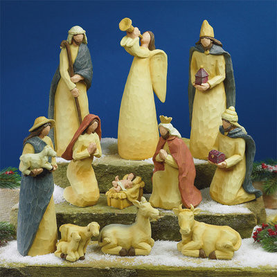 """Folk Art 11 piece Nativity Set~Folk Art Nativity Set-11 piece classic nativity pieces are crafted of resin with the look of carved wood and painted in soft hues.  Styrofoam packed in a brown box. Pieces measure approx. 2"""" - 9 1/2""""."""