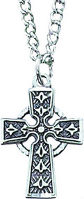 """Girls rhodium Celtic cross pendant with 16"""" stainless steel chain"""