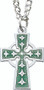 """Boys enameled green Celtic Cross with 18"""" Stainless Steel Chain."""