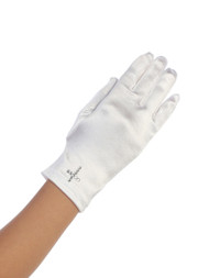 White Satin gloves with rhinestone cross. Fits sizes 4-7 or 8-14