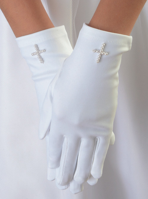 First Communion Matte Satin White Gloves with Pearl Cross.. Gloves come in sizes 4-7 or 8-14. Please make selection when checking out.