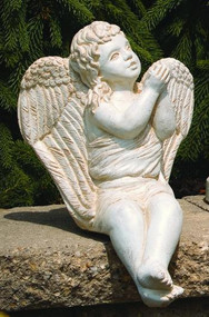 "Cement Sitting Angel Blowing Kiss. H: 14.5"", W: 9.5"", L: 10.5"", Wt: 14 lbs. Made to order...Allow 3-4 weeks for delivery if not in stock. Made in the USA!"
