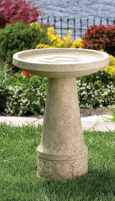 """Love Birds"" Cement Bird Bath Dimensions: H: 24"", TD: 18"", BD: 10"". Wt: 84 lbs. Made to order...Allow 3-4 weeks for delivery. Made in the USA!"