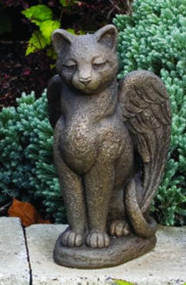 "Cement My Guardian Cat Angel.Dimensions:  H: 13.75"", W: 7.5"", L: 8, . Weight: 14 lbs.. Made to order.... Allow 3-4 weeks for delivery.  Made in the USA!"