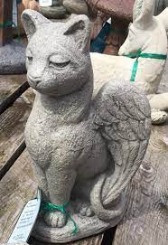 """Cement My Guardian Cat Angel. Dimensions:  H: 13.75"""", W: 7.5"""", L: 8, . Weight: 14 lbs.. Made to order.... Allow 3-4 weeks for delivery.  Made in the USA!"""