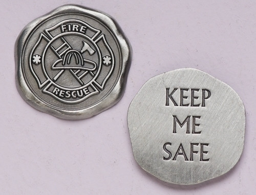 "1"" Diameter ""Keep Me Safe"" ~ Firefighter Pocket Token"