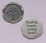 "1"" Diameter ""Healing hands, caring heart"" ~ Nurses Pocket Token"