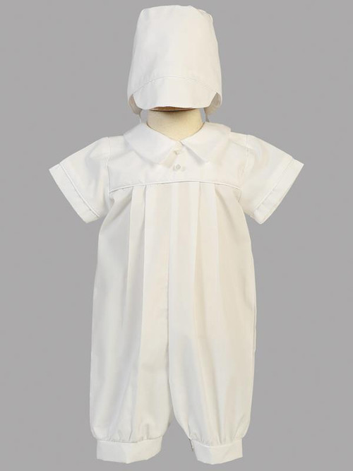 Cotton romper christening set ~ hat included. Sizes 0-3m, 3-6m, 6-12m, 12-18m, & 18-24m