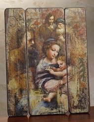 "15.5""H Nativity scene ""plank style"" plaque of the Holy Family. Dimensions:  15""H x 11.63""W x 0.75""D. Materials: Medium intensity wall board"