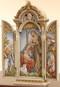 "The Nativity Scene Triptych. Resin/Stone Mix. Dimensions: 12.75""H x 5.25""W x 2.25""D"