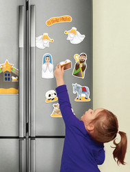 """11 Detailed Jumbo Refrigerator Nativity Magnets, 2"""" to 6"""" high. Set includes Jesus in the Manger, Mary, Joseph, 2 Angels, a Shepherd, Animals, a Stable and a Banner . These durable magnets are Laminated and Washable. These Fridge Magnets will give children their own special nativity set. Recommended for children 3 years of age and older"""