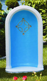 "This beautiful round grotto features a unique star and cross detailing in the center. This grotto comes in a natural cement color or comes in a detailed stain. The stain features a blue inside with white borders and gold star detailing. This grotto has a height of 49 inches and can fit a 36 inch statue.  Details:  49"" H Base width 29"" Base length 18.5"" Weight 295 lbs Allow 3-4 weeks for delivery Made in the USA"