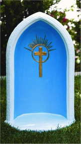 "This 24""H cast stone pointed grotto features a gorgeous cross detailing at the center. This 24""H pointed grotto is designed to display an 18""H statue. You can find this in a natural cement color or with detailed stain that includes a blue background, white trim, and a gold cross.  Details:  Base width 15"" Base length 13"" 55lbs Allow 3-4 weeks for delivery Made in USA"