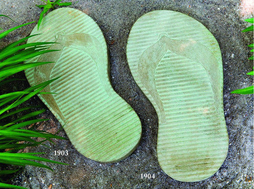 """Stepping Stone Flip Flops! Choose Left or Right Flip Flop or both.  Dimensions: 24""""h X 11.5""""w X 22""""L. Colors: Natural,  Everglade Stone (#91), Buttercup (#45) or Terra Cotta(#22).  All statuary is custom made. Please allow  3-4 weeks for delivery."""