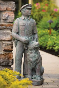 """32""""H Cement Police Office Garden Statue. Weight: 128lbs. Dimensions: 32""""H x 13""""L Base L10.5"""" Base W12"""".Shown in a Classic Patina Finish.  All statuary is hand crafted. Please allow  3-4 weeks for delivery."""