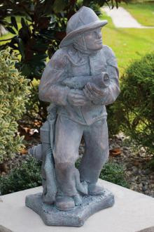 """36.5""""H firefighter Hoseman Garden Statue. Weight: 161lbs. Dimensions: 36.5""""H x  BaseL 15"""" BaseW 15"""". All statuary is custom made. Please allow  3-4 weeks for delivery."""