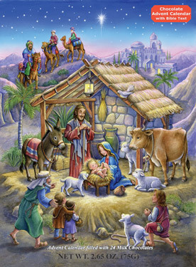 "Prepare for Christmas by opening a window each day during Advent. Upon opening each window, find a wonderful piece of gourmet milk chocolate. Also find bible text that tells a part of the Nativity story. Each Advent calendar contains 2.6 ounces of chocolate and measures 10""x13 3/4"". Chocolate Advent calendars may contain traces of peanuts, other nuts, gluten, egg and cereals."
