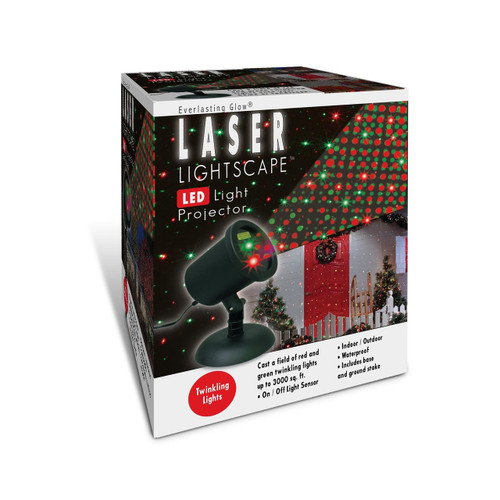 Laser Lightscape LED Light Projector w/ Green & Red Twinkling Lights. Electric laser lights with green and red flashing lights and photo cell. Flashing laser light projects light show onto entire wall.