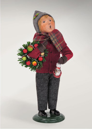 Burgundy and Gold Family Boy is newly designed by Joyce Byers in 2016. He is ready with his holiday wreath and Santa ornament!