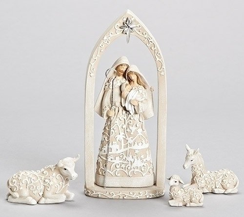 "4 Piece Paper Cut Holy Family Nativity with Stable Animals. Dimensions: 10.24""H 2.95""W 4.33""L Material: Resin/Dolomite"